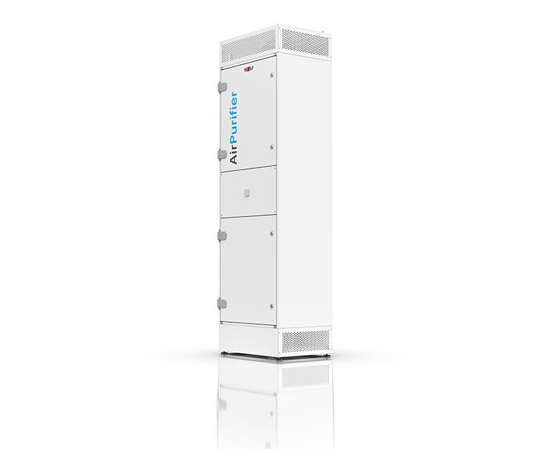 """Das Umluftfiltergerät """"AirPurifier"""" wurde speziell für Klassenräume mit Raumgrößen von bis zu 60 m2 entwickelt. Durch den über EC-Ventilatortechnik geregelten, sechsfachen Luftwechsel und eine doppelte Filterstufe mit HEPA-Schwebstofffilter wird das Ansteckungsrisiko minimiert. Allerdings kann auch bei Verwendung dieses Gerätes auf eine Fensterlüftung nicht verzichtet werden. Bildquelle: WOLF GmbH"""